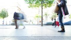 4K. Crowd Of People Walking On City Street Sidewalk Timelapse - stock footage