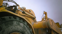 Detail of tire in heavy machinery - stock footage