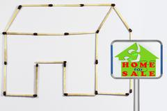 Stock Illustration of home for sale signboard, concept