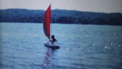 Women In Sailboat On Lake-1962 Vintage 8mm film Stock Footage