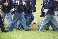 detail, union troops marching - stock photo