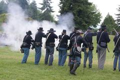 Union infantry line firing a volley Stock Photos