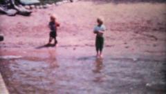 Kids Fishing In The Lake-1962 Vintage 8mm film Stock Footage