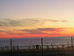 Oktyabrsky scarlet sunset at sea Stock Photos