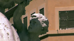Zoom out statue of Neptune in Piazza Navona in Rome Stock Footage