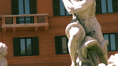 Fountain of Neptune, in the Piazza Navona in Rome Stock Footage