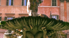 Fontana del Tritone or Triton Fountain  sculpted by Bernin Stock Footage