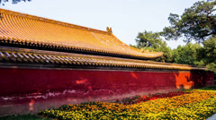 The exterior of Hall and the flower bed in the Temple of Earth, Beijing, China Stock Footage