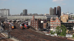 Trains at London Waterloo railway station Stock Footage