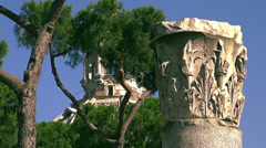 The ruins of several important ancient government buildings in Rome Stock Footage