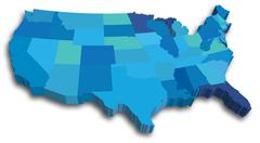 Blue 3d usa state map Stock Illustration