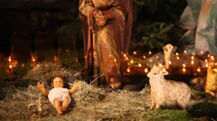 The birth of Jesus scene in church - stock footage