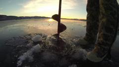Ice Fishing Auger Stock Footage