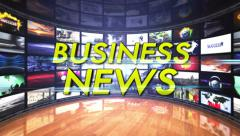 Business News Text in Monitors Room, Loop Stock Footage