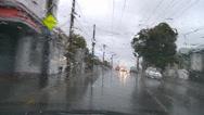 Stock Video Footage of Driving POV heavy rain, suburban