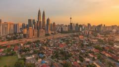 Timelapse of cityscape during sunset - 1080p - Zoom In Stock Footage