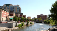 Truckee River Waterfront Reno Stock Footage