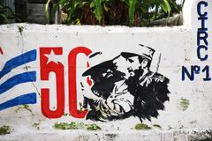 Graffiti marking 50 years of the revolution in cuba Stock Photos