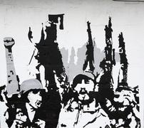 cuban revolution painted on a wall - stock photo