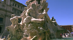 Fountain of the Four Rivers,detail of the River Ganges Stock Footage