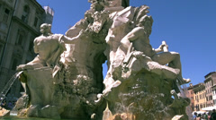 Fountain of the Four Rivers,detail of the River Ganges - stock footage