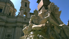 Fountain of the Four Rivers is a fountain in the Piazza Navona in Rome Stock Footage