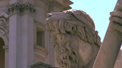 Zoom out Fountain of the Four Rivers in the Piazza Navona in Rome Stock Footage