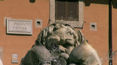 Fountain and art in the Piazza Navona in Rome Stock Footage