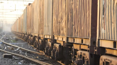 Freight car is passing on railway track, India - stock footage