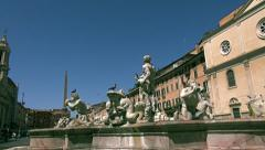 Fontana del Moro (Moor Fountain)  in the Piazza Navona in Rome Stock Footage