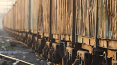 Freight car is passing on railway track Stock Footage