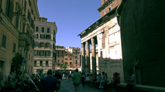 Tourists visit the Pantheon, a famous monument of ancient Roman culture, in Rome Stock Footage