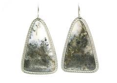 agate mineral semigem earrings - stock photo