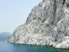 White high rocks in aegean sea Stock Photos