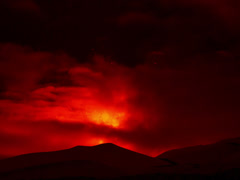 Etna Eruption at night. Sicily, Italy. Time Laps. 4x3 Stock Footage