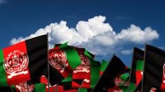 Waving Afghan Flags - stock footage