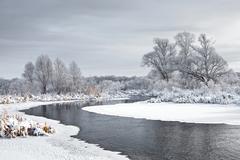 The freezing river Stock Photos