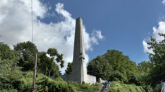 The war memorial on Sainte-Walburge in Liège, Wallonia, Belgium . Stock Footage