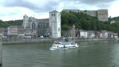 The Fort de Huy (Li Tchestia fort) above the River Meuse in Huy, Liege, Belgium. Stock Footage