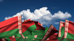 Waving Belarus Flags Stock Footage