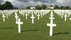 Whites crosses in the Henri-Chapelle American Cemetery and Memorial in Belgium. Stock Footage