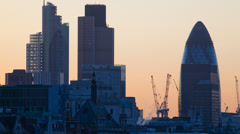Time-lapse of the sun rising of the City of London Stock Footage