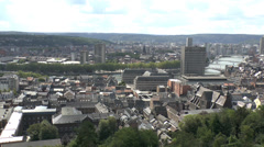 View over the rooftops of central Liege and the River Meuse, Wallonia, Belgium. Stock Footage