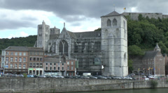 The Notre Dame de Huy (Collegiale Notre Dame) on the River Meuse, Huy, Belgium. Stock Footage