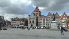 Grand-Place, Tournai, Wallonia, Hainaut, Belgium. Stock Footage