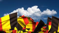 Waving Belgian Flags Stock Footage
