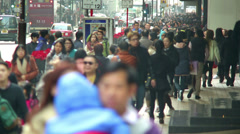 Hong Kong Canton Rd Crowded Chinese Shoppers Stock Footage
