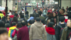 Hong Kong Canton Rd Crowded Chinese Shoppers Slow Motion, Winter - stock footage
