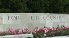 Stock Video Footage of The Wall of Remembrance, Henri-Chapelle American Cemetery, Belgium.