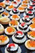 Display of colourful appetizers Stock Photos